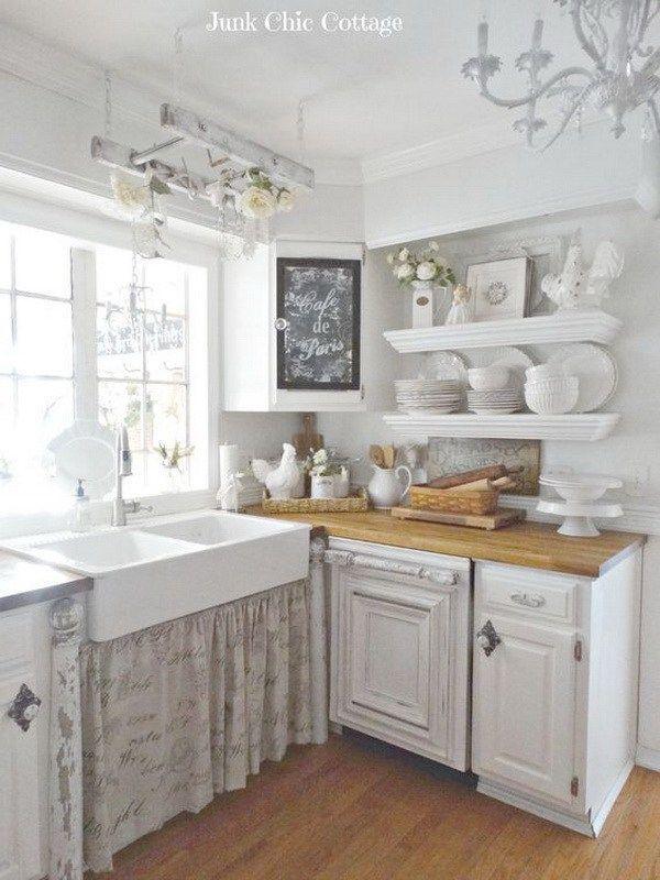 Vintage White Shabby Chic Kitchen Decor