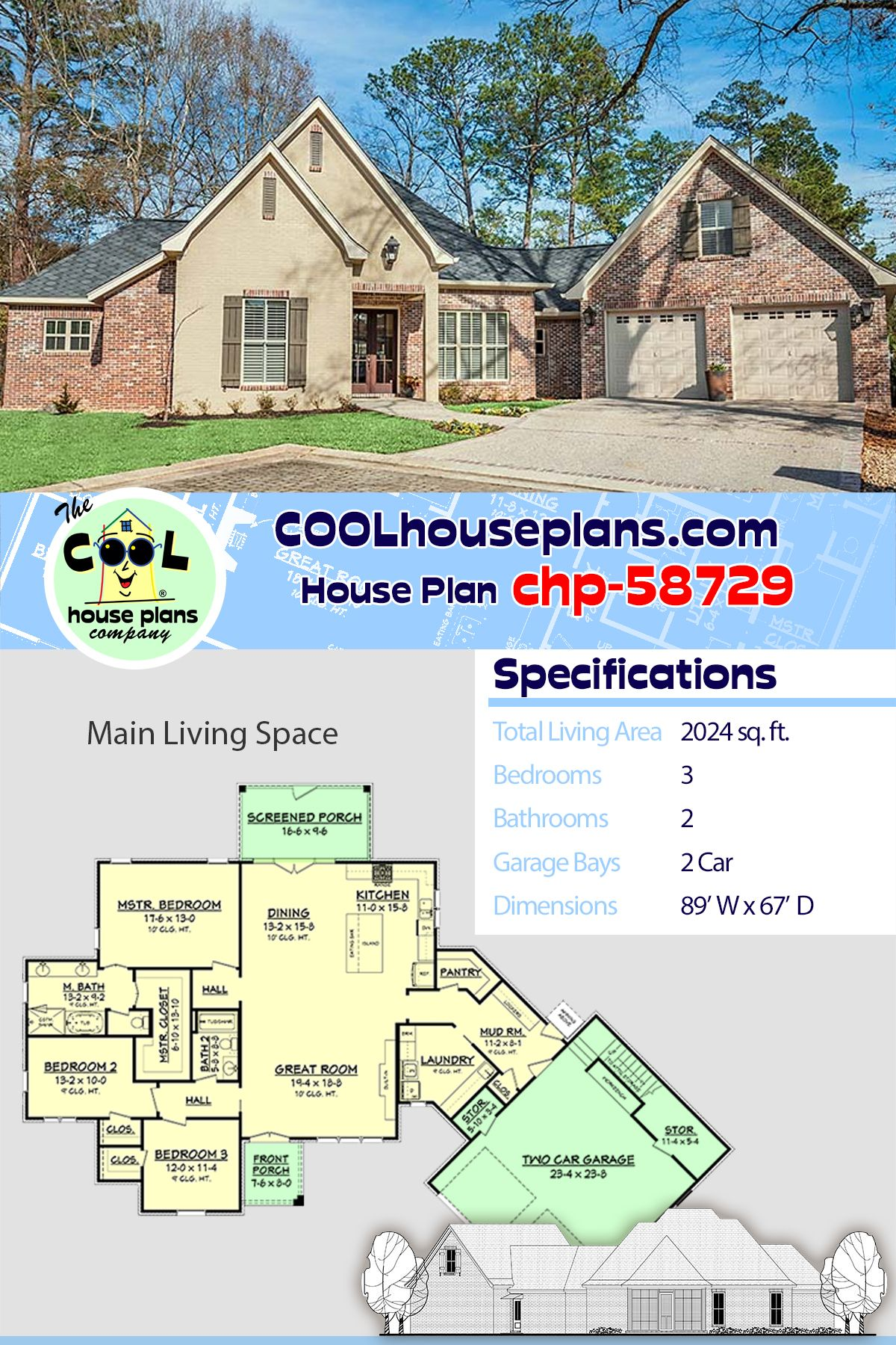 French Country House Plan Or Acadian Style Home Design With Three Bedrooms And Two Bathrooms French Country House Plans House Plans Acadian Style Homes