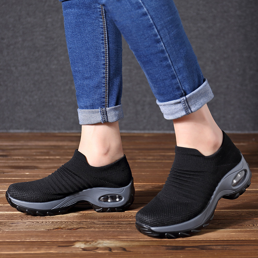 Women Breathable Knit Trainers Sneakers Lady Comfy Sport Casual Pumps Shoes Size