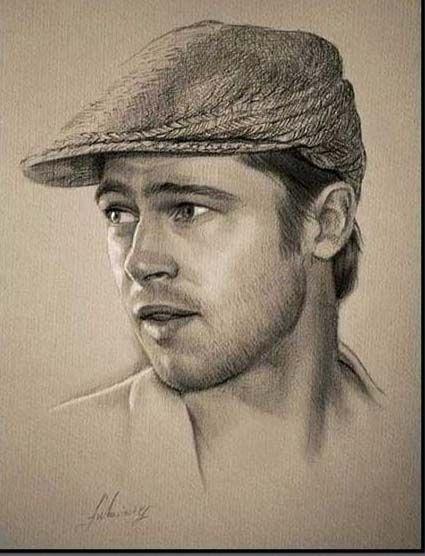 Brad Pitt Pencil Portrait Pencil Drawings Portrait Sketches