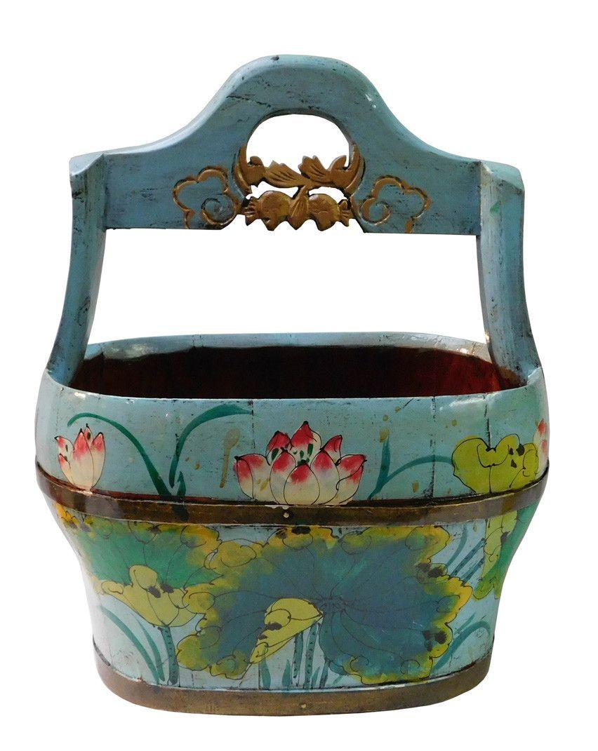 20paintings fishing jpg chinese peasant paintings pinterest - Chinese Antiques Redone Ocean Blue Color Oval Wood Water Bucket With Lotus Flower Painting N102s