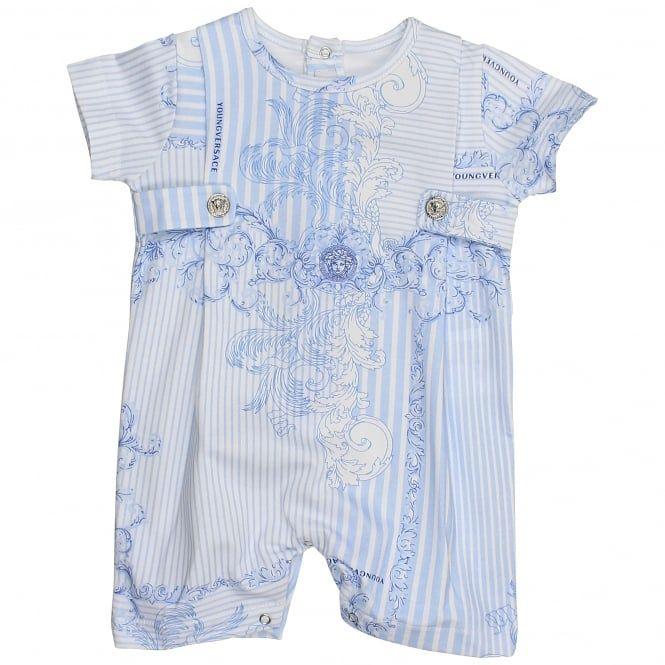 b239d84135ec Young Versace baby boys blue striped romper.  versace  youngversace  romper
