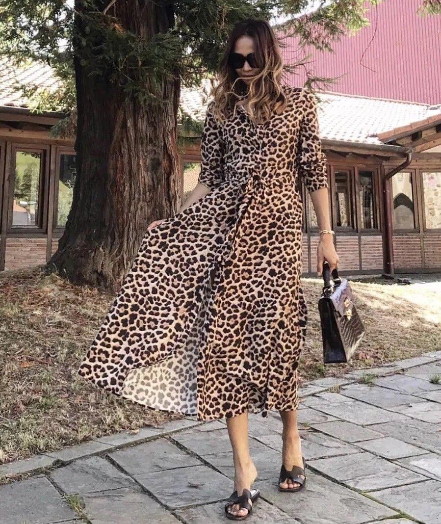 Zara Long Leopard Print Dress Size S M Xl Ref 7149 245 Ebay