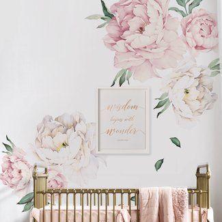 Mural Wall Stickers Kids Decor Baby Nursery Decal Pink Peony Flower