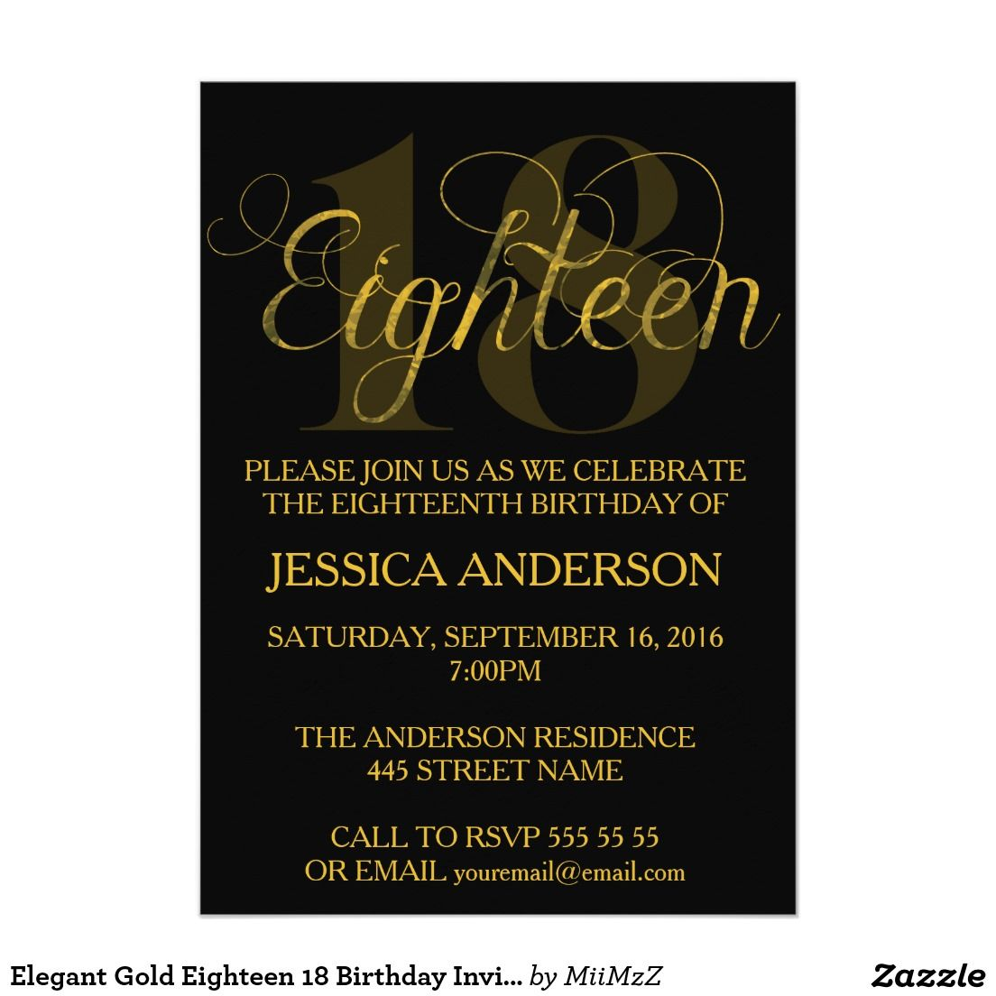 Elegant Gold Eighteen 18 Birthday Invitation #Eighteen #Eighteenth #18 # Birthday #Gold #Glitter #Invitation