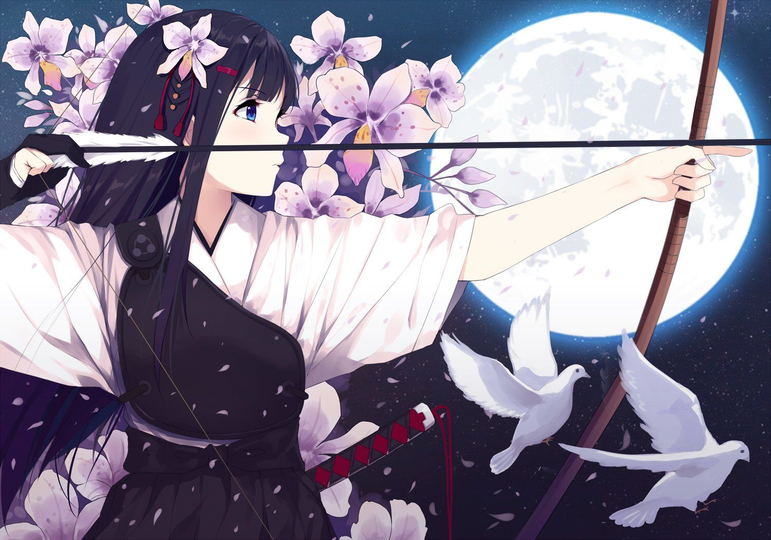 anime original girl bow arrow pigeon japanese dress katana weapon