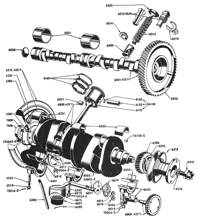 part illustration & identification ford flathead v8 60 hp engine