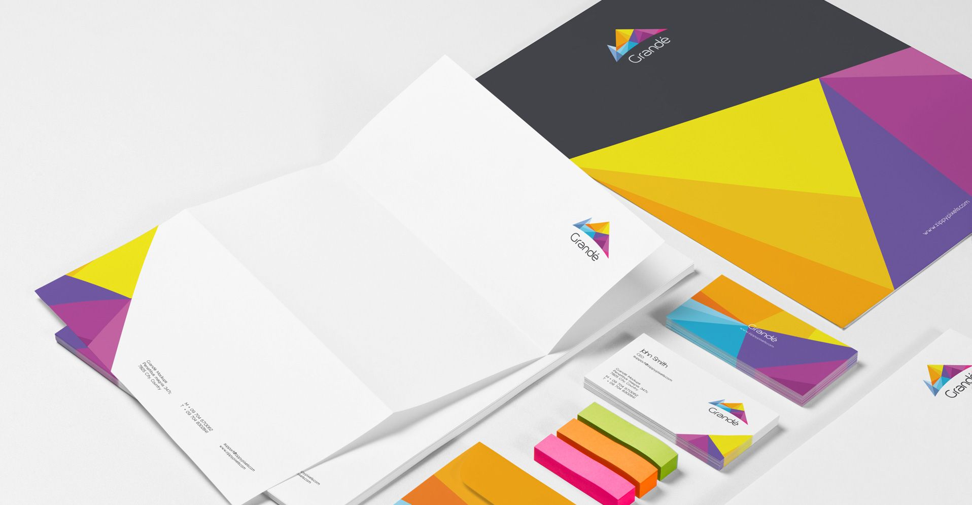 Photorealistic brand identity psd mockup collection pinterest photorealistic stationery branding psd mockups a4 letterhead business card envelop file cover cd cover etc reheart Image collections