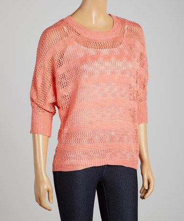 Loving this Coral Open Knit Sweater on #zulily! #zulilyfinds