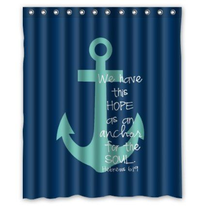 60 W X 72 H Cute Bible Verse Shower Curtain We Have This Hope As An Anchor For The S Nautical Shower Curtains Beach Shower Curtains Anchor Shower Curtains