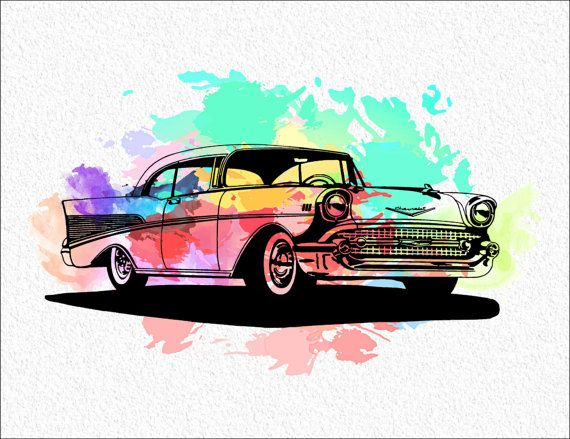 57 CHEVY Archival Watercolor Art Print  5 x 7 Watercolor Painting Print  Colorful 1957 Ghevrolet Wall Decor Home, Office, Childrens Room on Etsy, $15.00