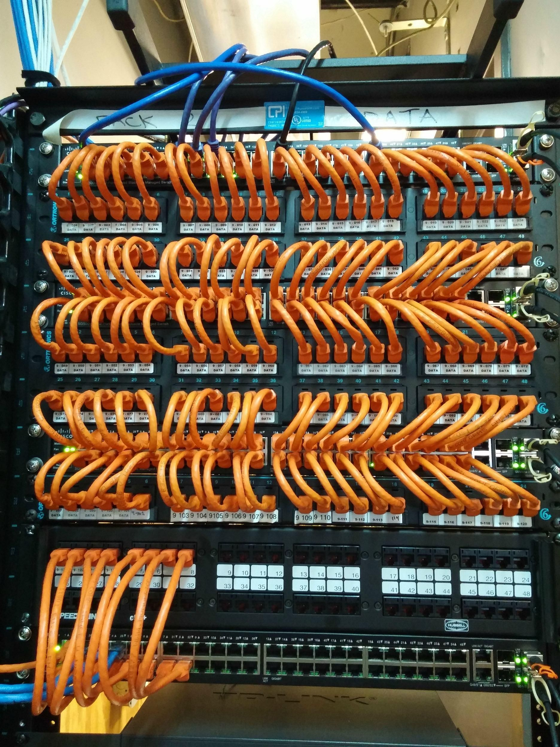 Setting Up A Cisco Network Rack Complete With Fiber Ports Cable Internet Wiring Closet