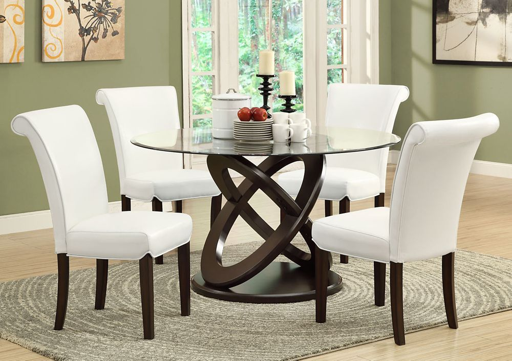 Solid Wood Brown Parson Armless Dining Chair With Beige Faux