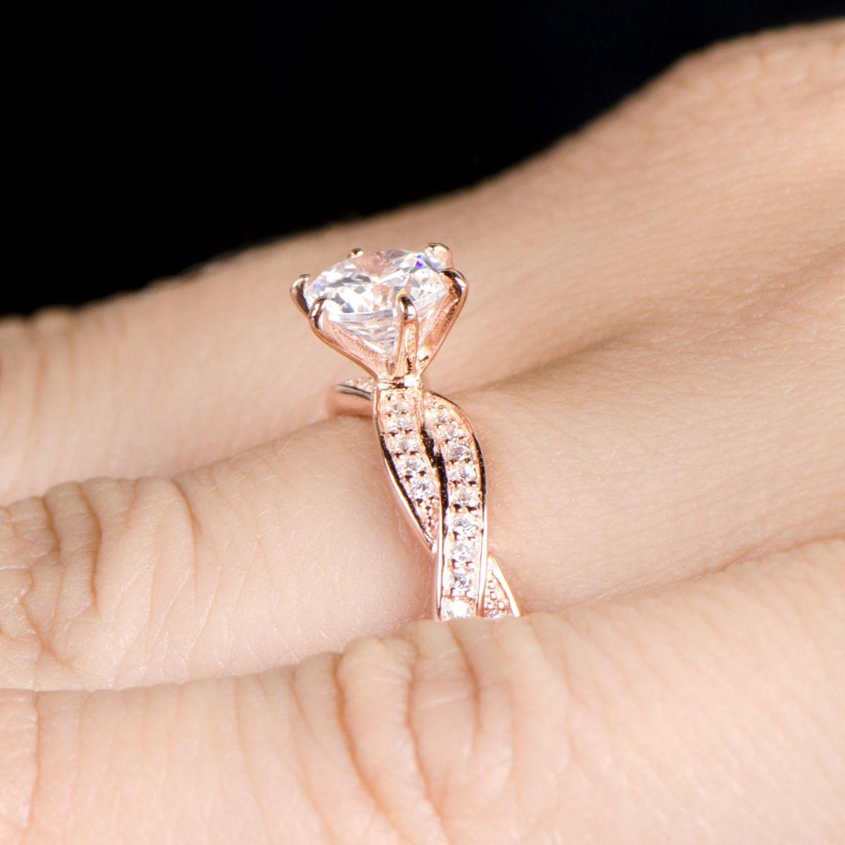 swarovski crystal rose gold engagement rings Google Search
