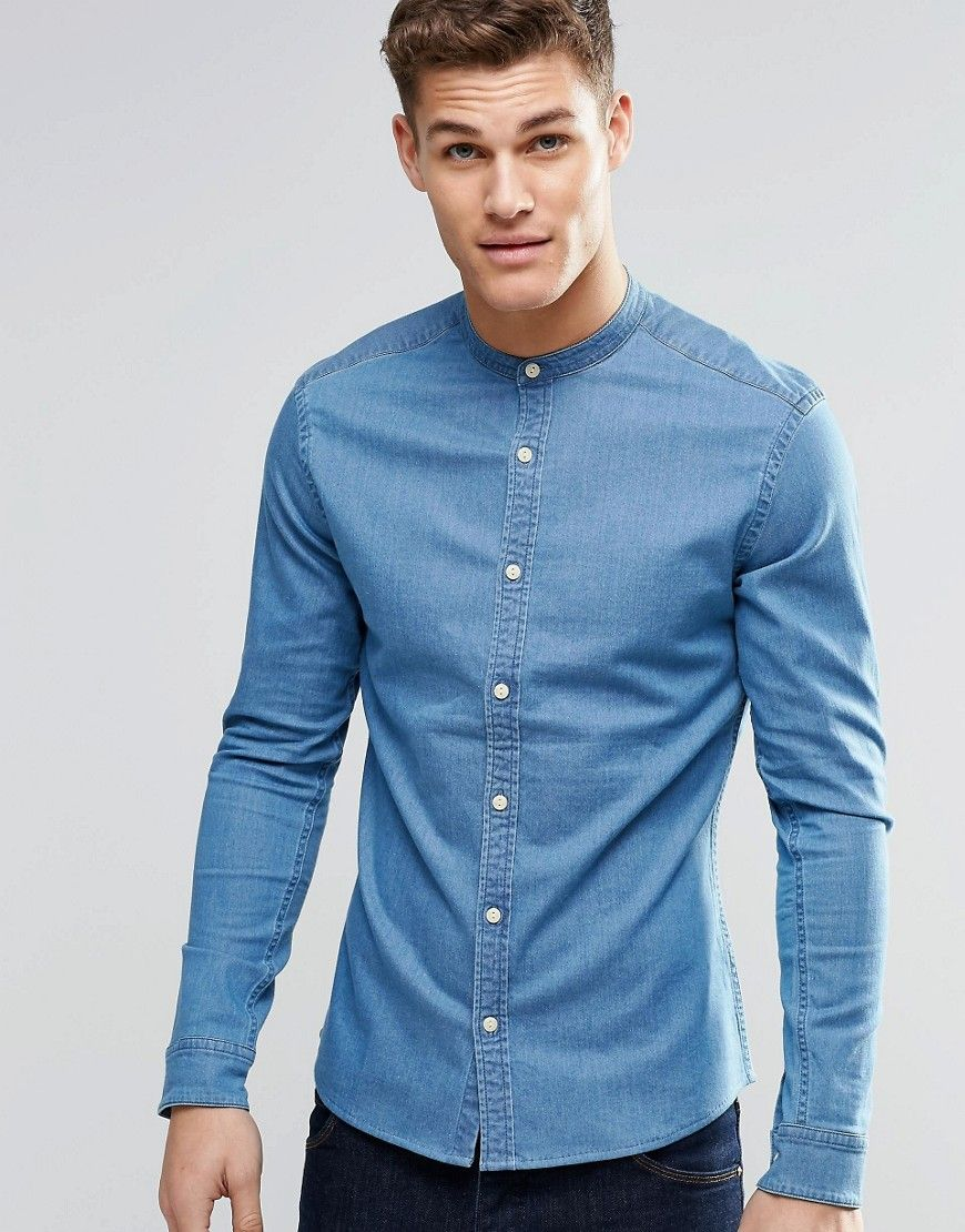 0b9bcb4a6af ASOS+Skinny+Denim+Shirt+In+Mid+Wash+With+Grandad+Collar+And+Long+Sleeve