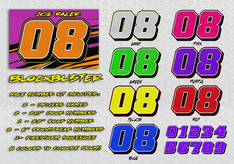 The Blockbuster race car number decal kit which can be