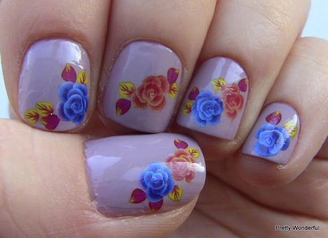 Pretty Wonderful: Blue & Red Rose Nails