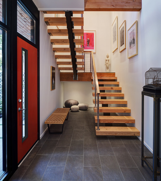 Modern Entryway Bench Stairs Tile Interior Design