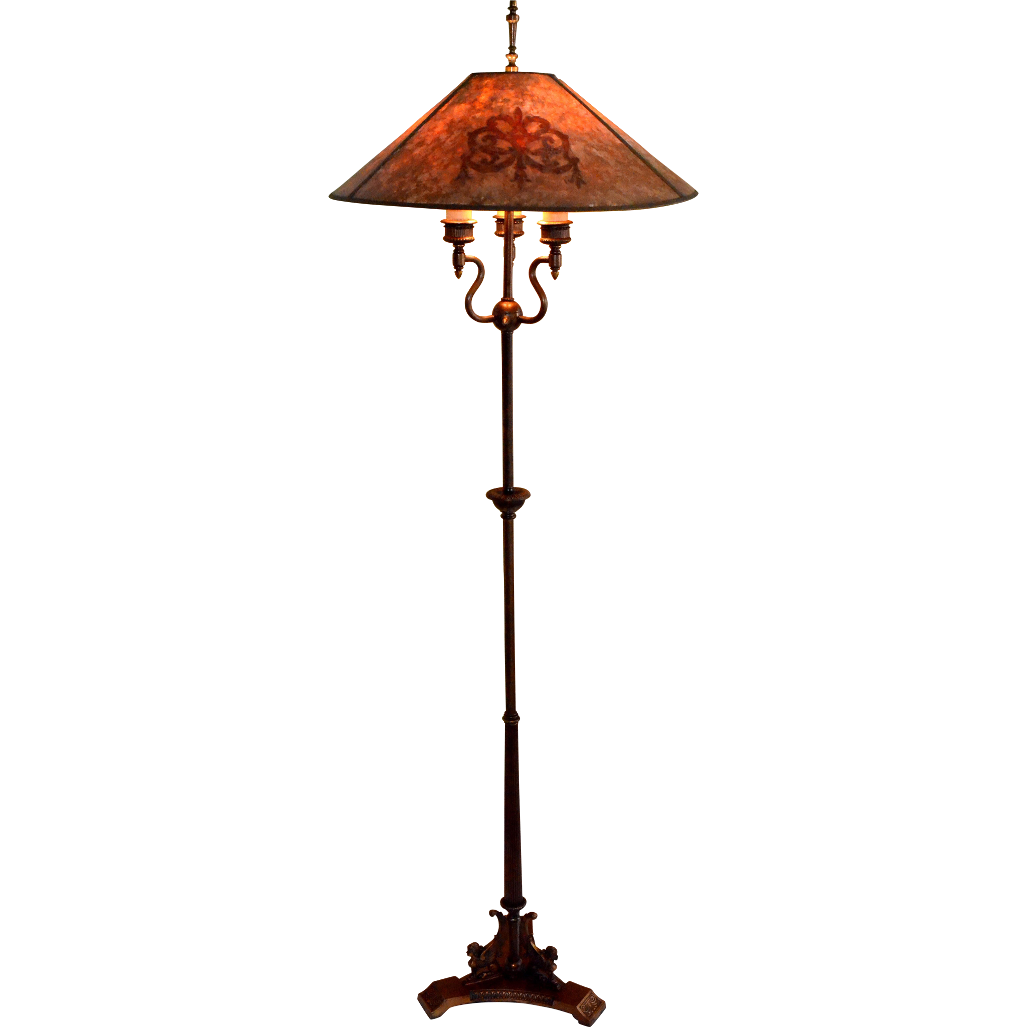 Antique floor lamp with table - Antique Floor Lamp With Mica Shade Signed Mutual Sunset Lamp Co