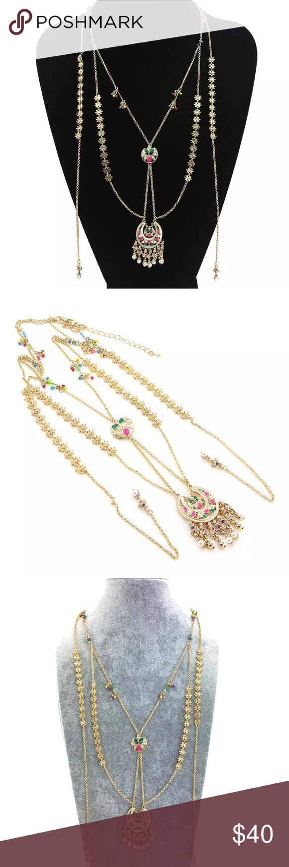 Bohemian flower Gold necklace . Very cute | Gold fashion, Layering ...