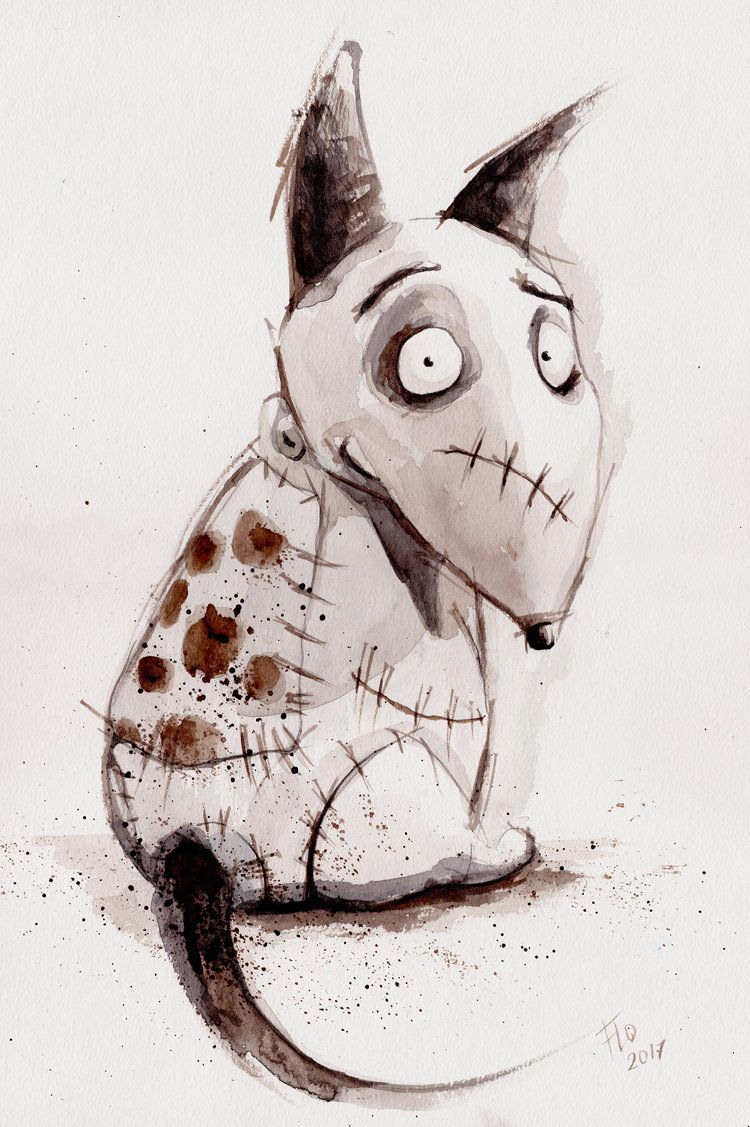 Tim Burton Frankenweenie Halloween Poster Wall Decor Sparky Horror Art Dog Print Watercolor Tim Burton Art Tim Burton Drawings Tim Burton Art Style