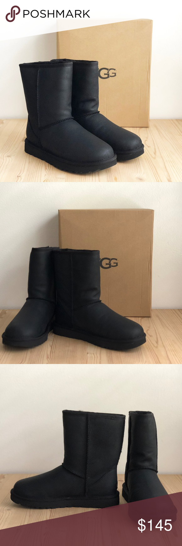 0618d5aac77 NEW UGG Classic Short Leather Boots Black Style #: 1016559 Color ...