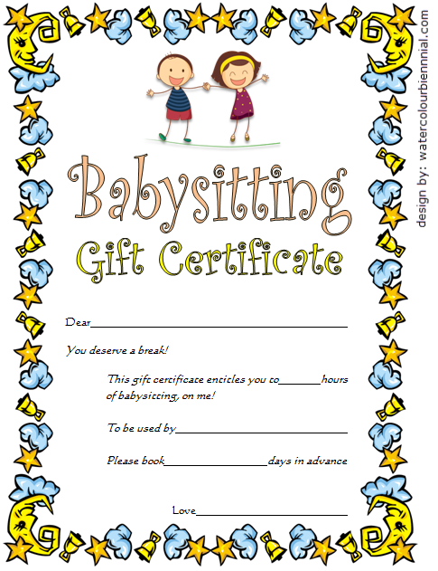 babysitting gift certificate template 4 free  babysitting