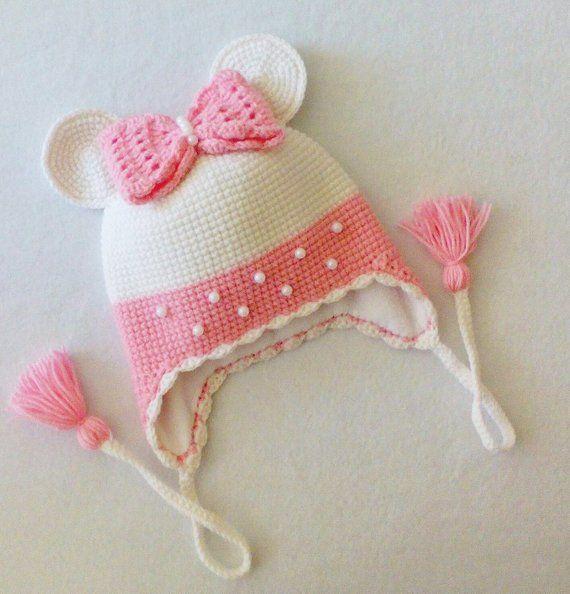 Crochet baby girl hat Crochet mouse hat Toddler girl hat