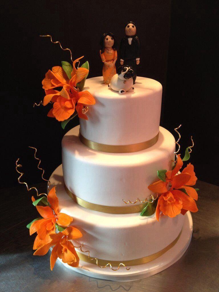 Orange Coral And Gold Wedding Cake