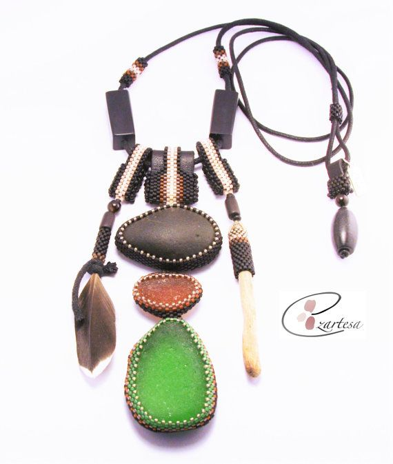 Green and Brown Sea Glass, Black Beach Stone, Leather, Woven Cotton Cord, Beaded Necklace by EzartesaJewelry