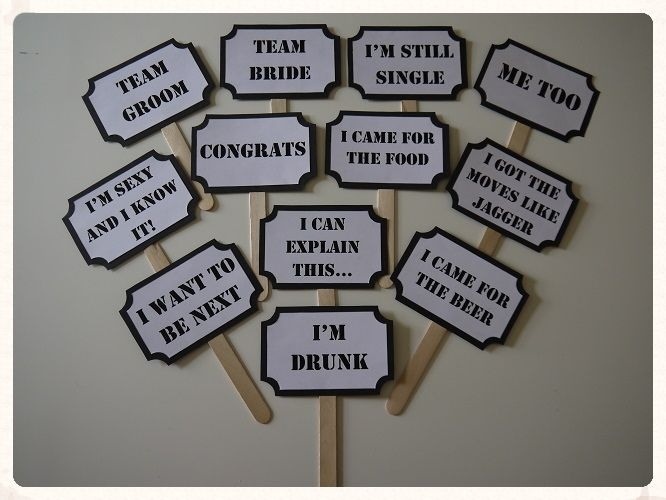 Photo Booth Props For Fun Wedding Reception A Set Of 12 Signs With Different Printed