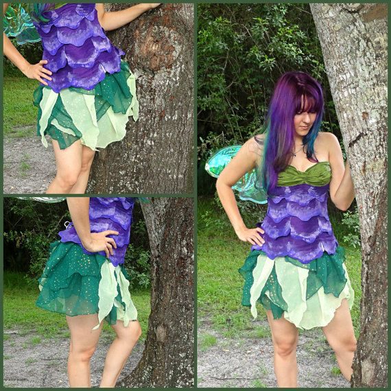 READY TO SHIP Pale And Dark Green Chiffon Shimmer Fairy