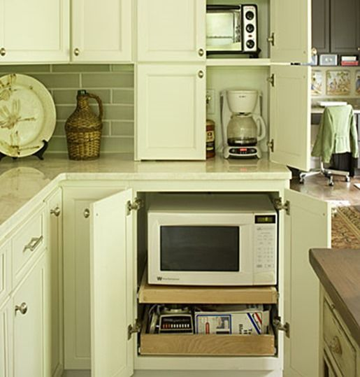 Hidden Microwave In Lower Cabinet On Pull Out Shelf Functional