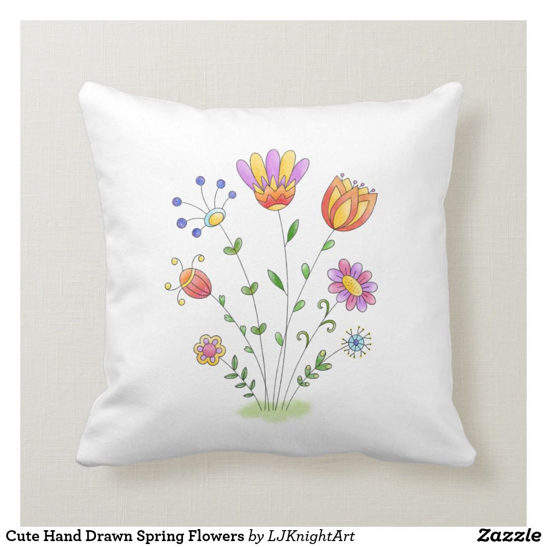Cute Hand Drawn Spring Flowers Throw Pillow Zazzle Com Flower