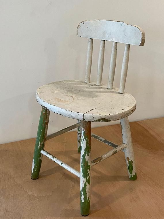 Vintage Child's Chair | Farmhouse Style Wooden Children's Kids Spindle Back Stick Back | Rustic Bohe