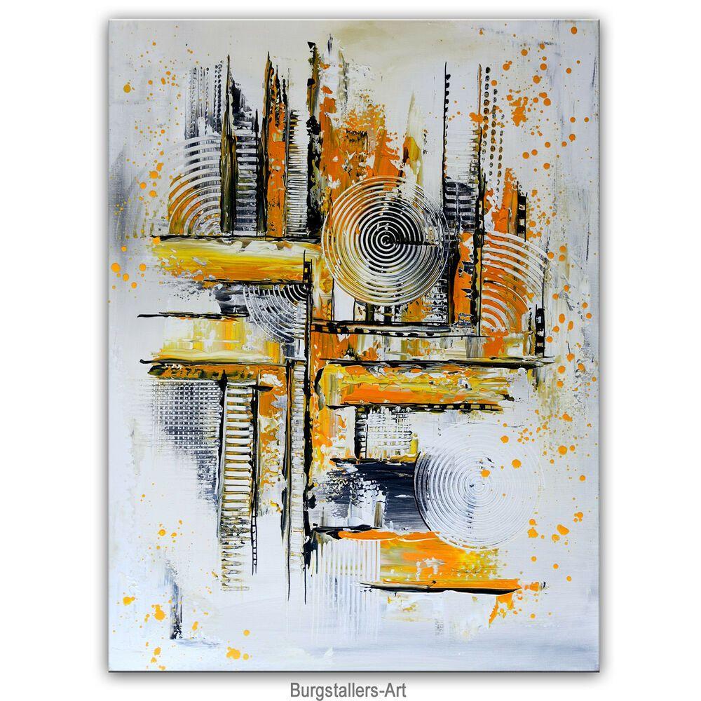 burgstaller gemalde orange grau hochkant abstrakte kunst malerei leinwandbild antiquitat abstract art painting acrylic bilder großes abstraktes bild