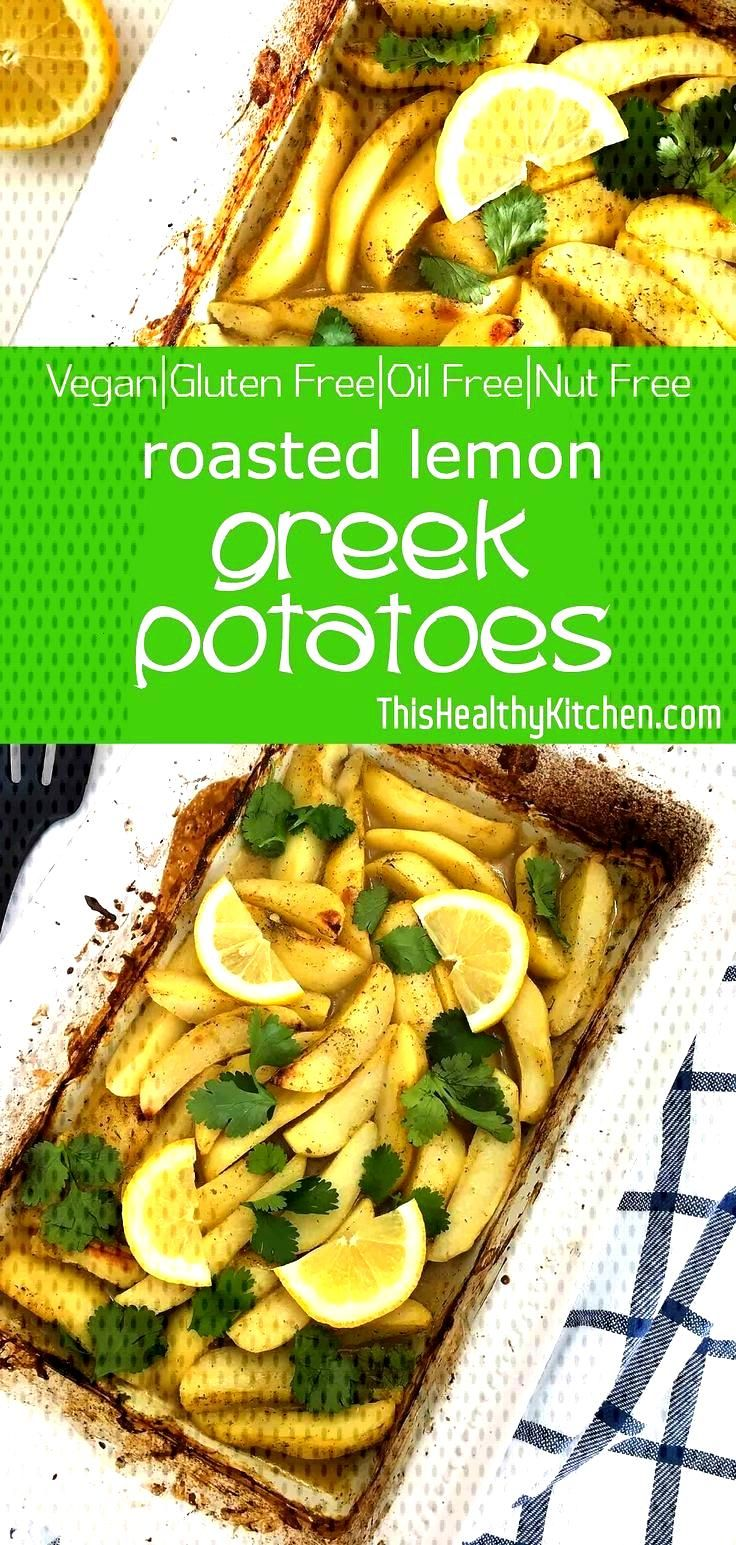 Roasted Greek Potatoes with Lemon - This Healthy Kitchen Roasted Greek with and herbs are super sat