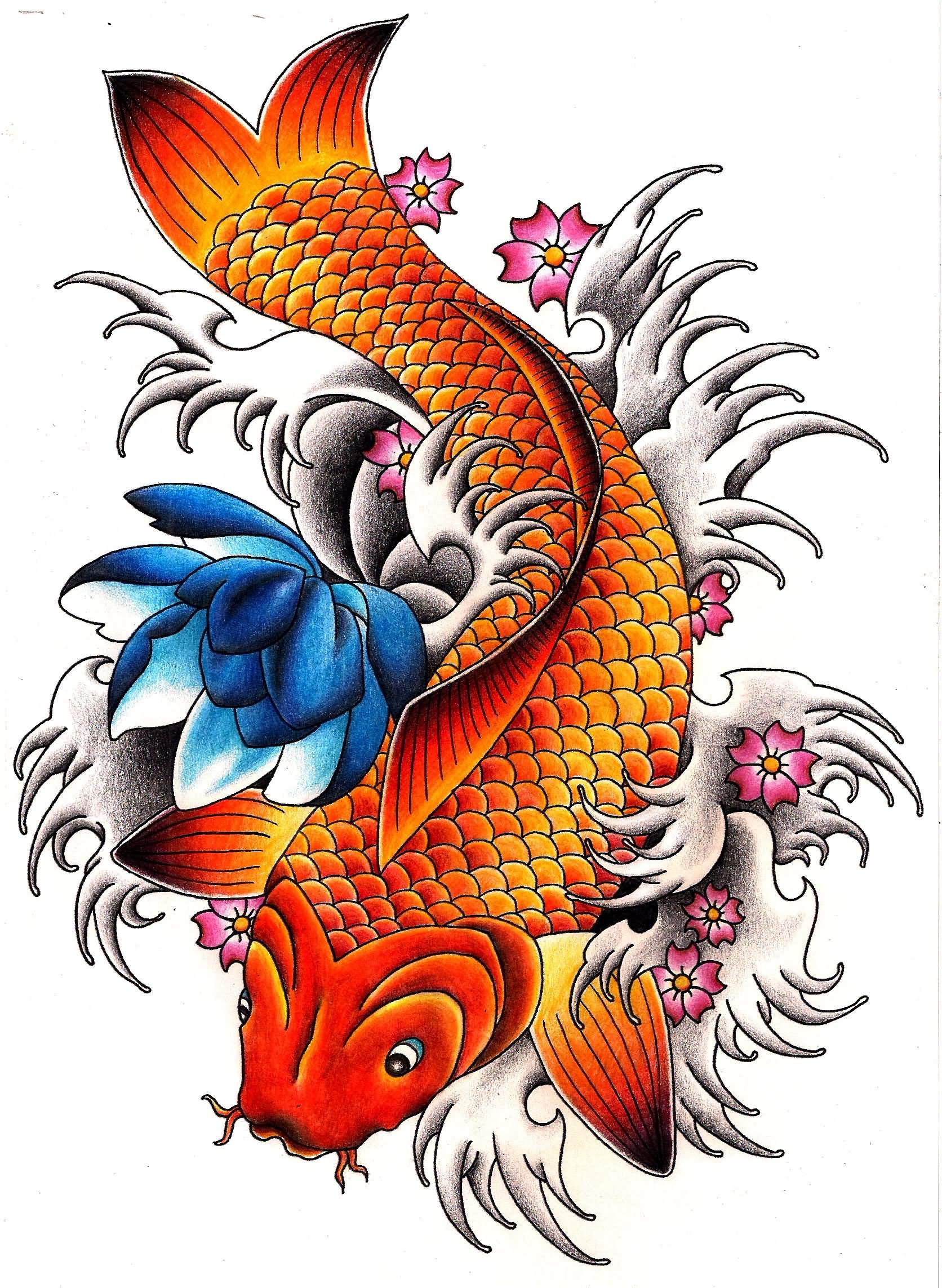 Amazing Carp Fish With Flowers Tattoo Design | Carp orname ...