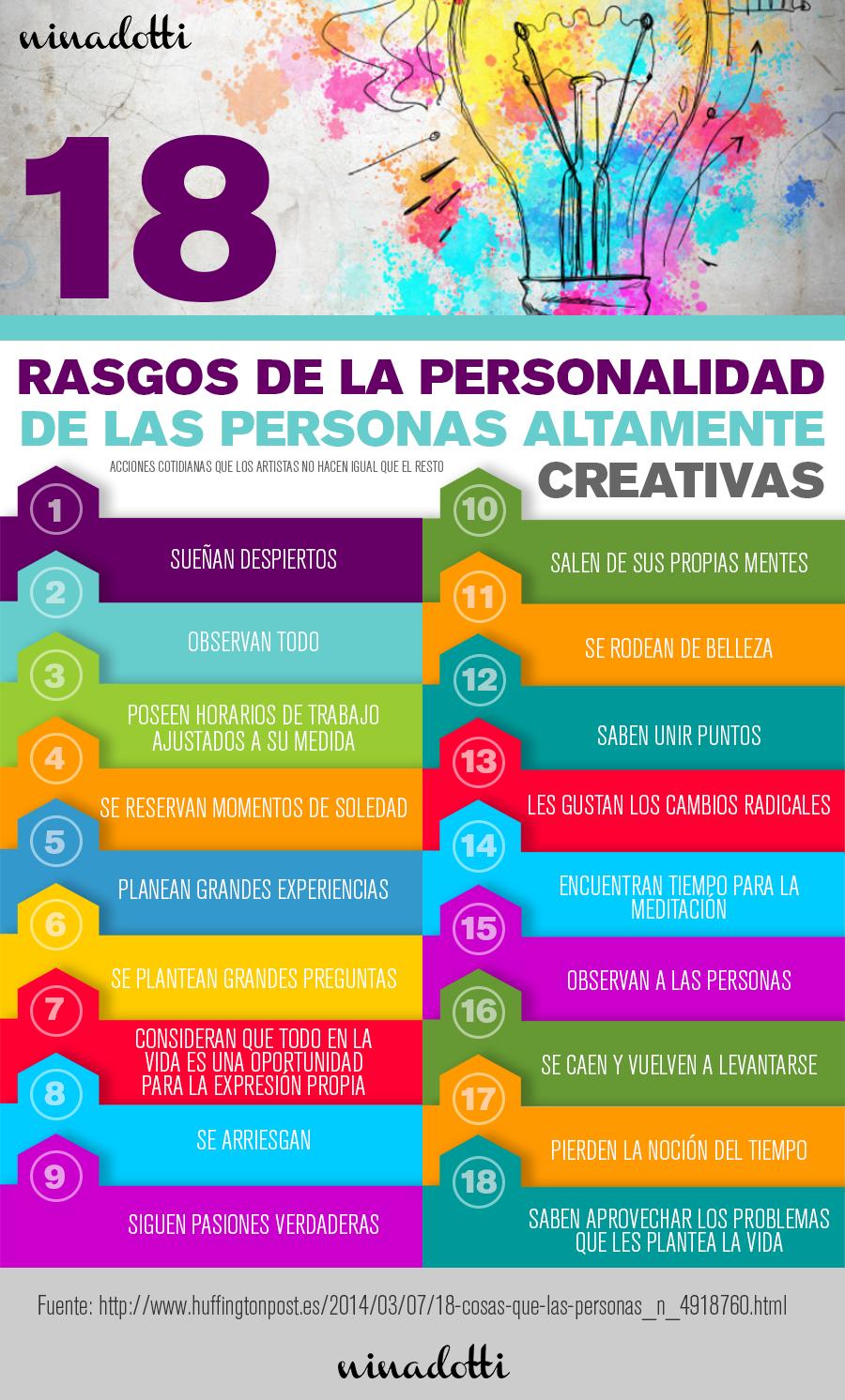 Rasgos De La Personalidad De Las Personas Altamente Creativas Infografia Creatividad Infografias Creativas Infografia