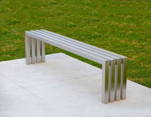 Custom Made Linear Stainless Steel Bench Modern Indoor Outdoor Bench Fully Stainless Steel Bench Contemporary Outdoor Benches Wooden Garden Benches