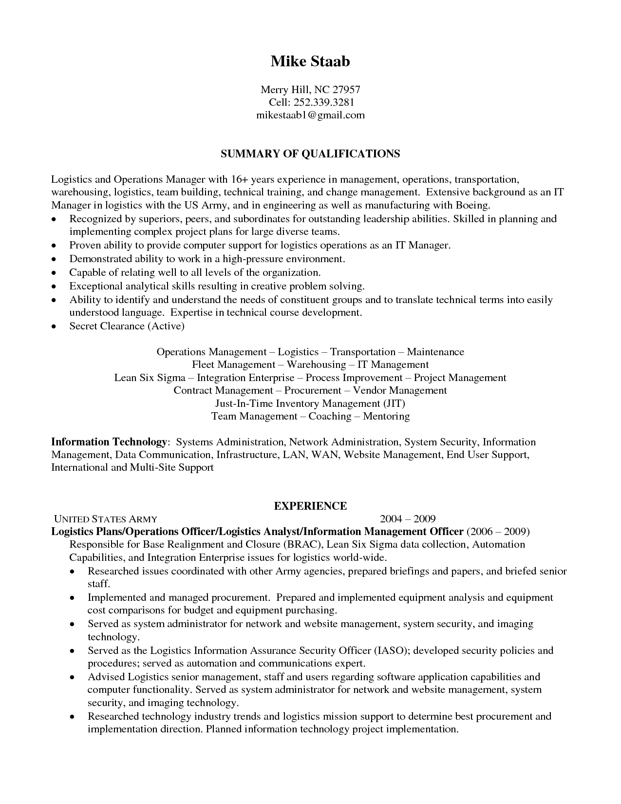 Senior Logistic Management Resume | Operations Logistics Manager In Raleigh  NC Resume Mike Staab