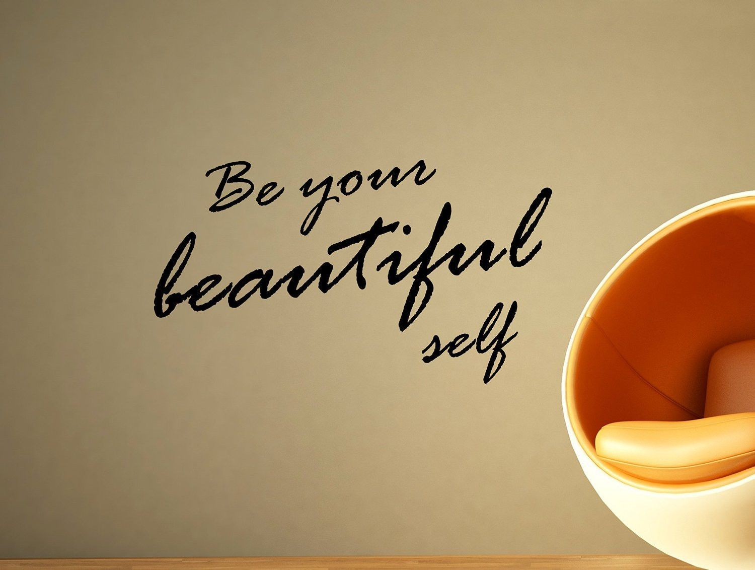 Be Your Beautiful Self Motivational Typography Quote Wall Decal Home ...