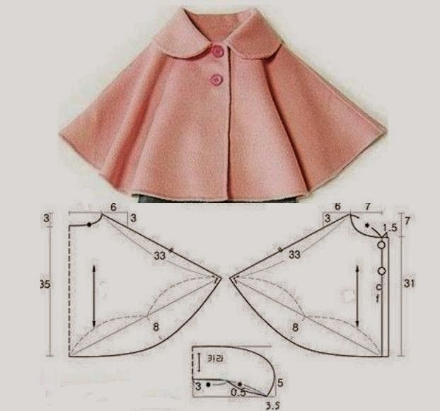Resultado de imagen para molde de poncho infantil | costura nenas ...
