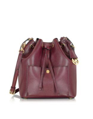 a721a995ec73c4 Michael Kors Greenwich Merlot/Black Saffiano Leather Large Bucket Bag