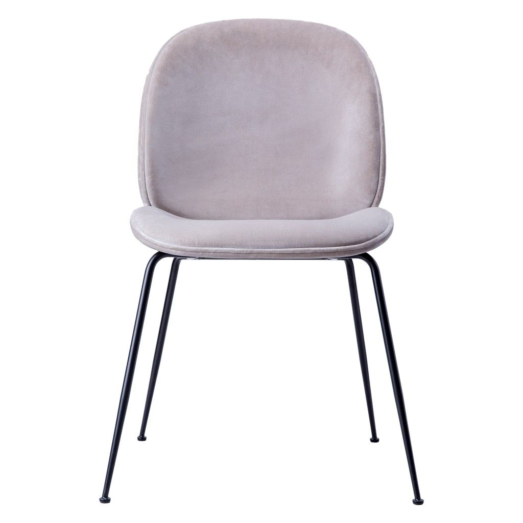 Beetle Chair Light Grey Velvet With Black Legs Beetle Chair
