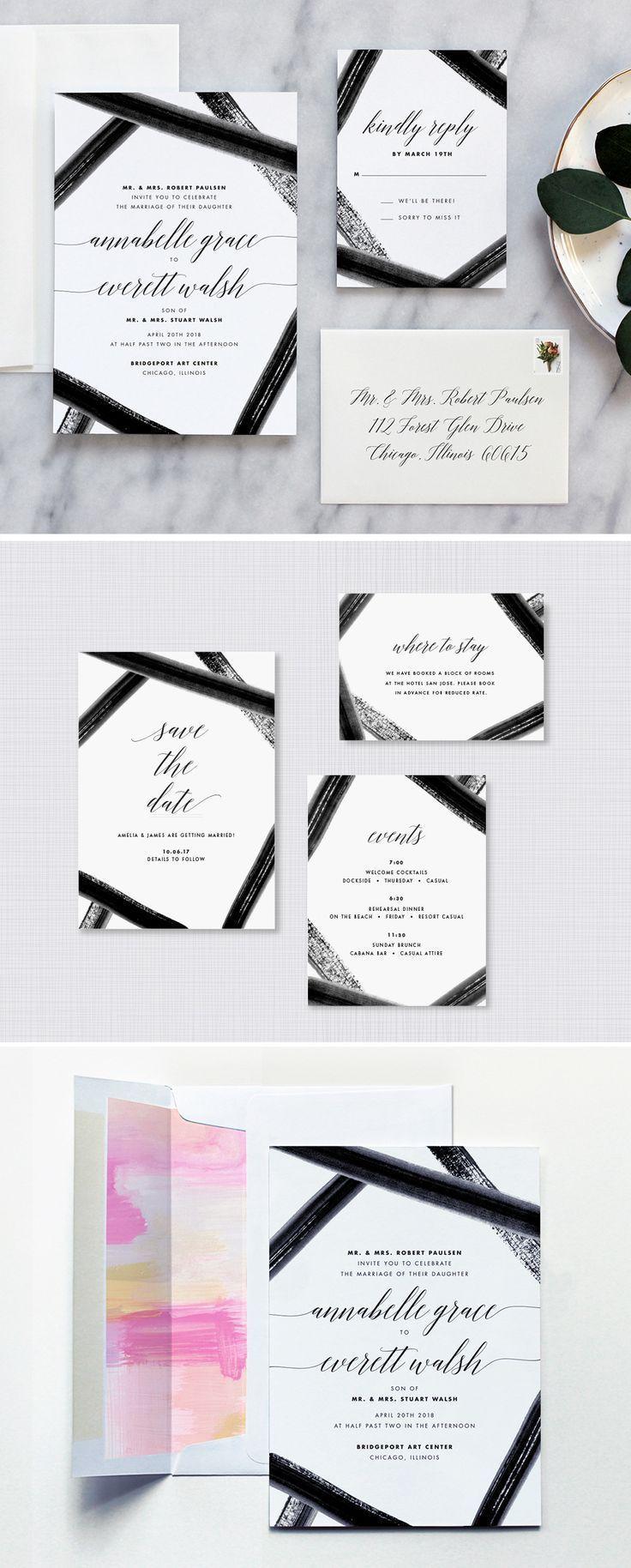 Black Tie Watercolor Wedding Invitations | Modern calligraphy ...
