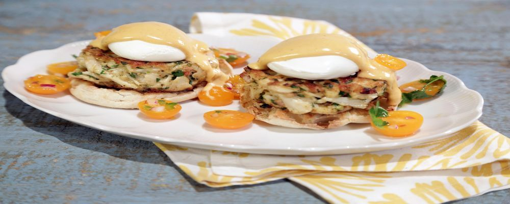 Crab Cake Eggs Benedict with Chipotle Hollandaise Recipe by Mario Batali - The Chew