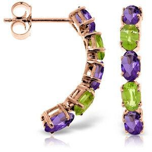 14K Solid Rose Gold Earrings with Amethysts & Peridots - 3991-R