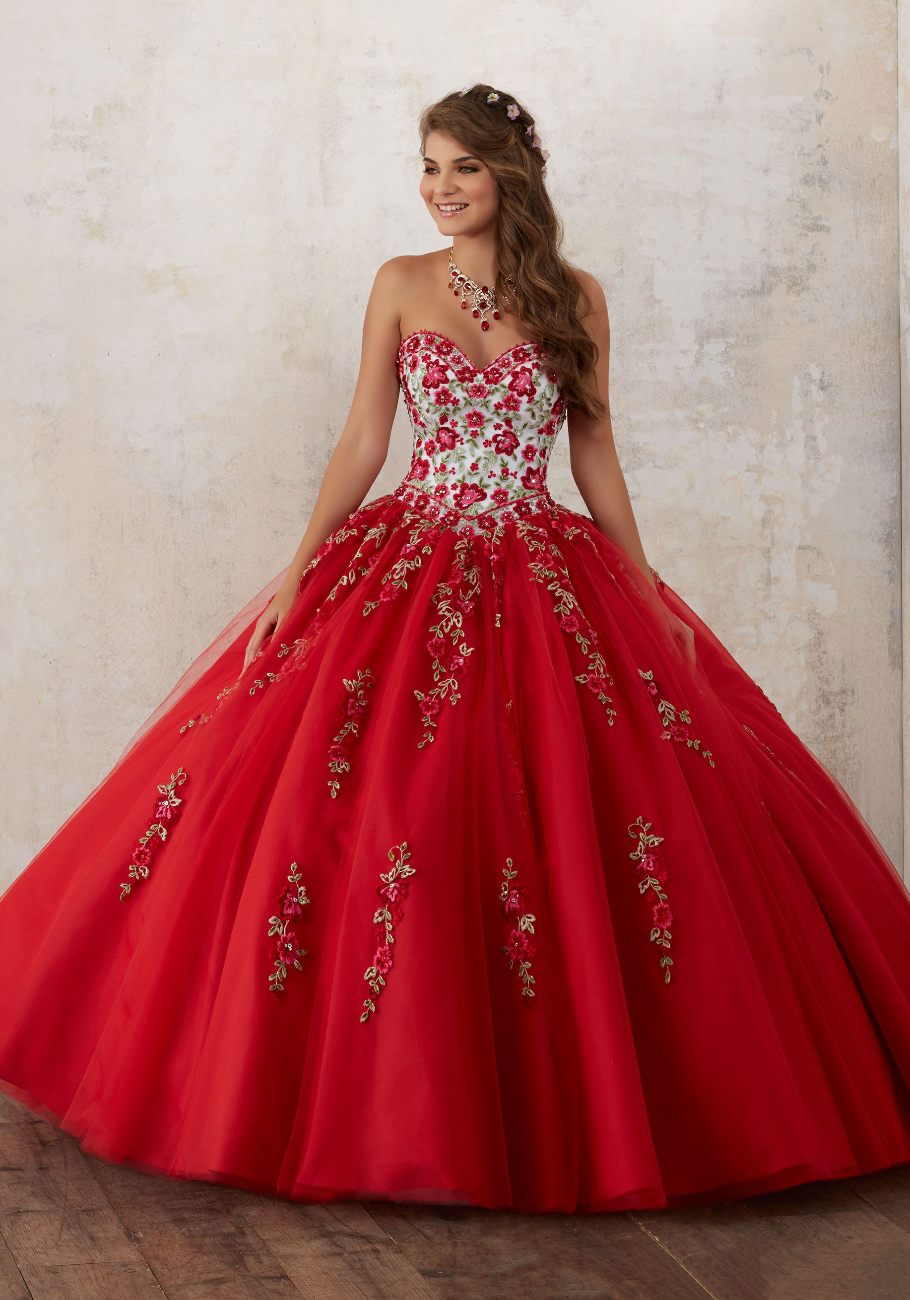 1e1a76243d4 Quinceanera Dresses by Morilee designed by Madeline Gardner. Gorgeous  Floral Embroidey Takes Center Stage on This Tulle Quinceañera Dress with  Corset Back.