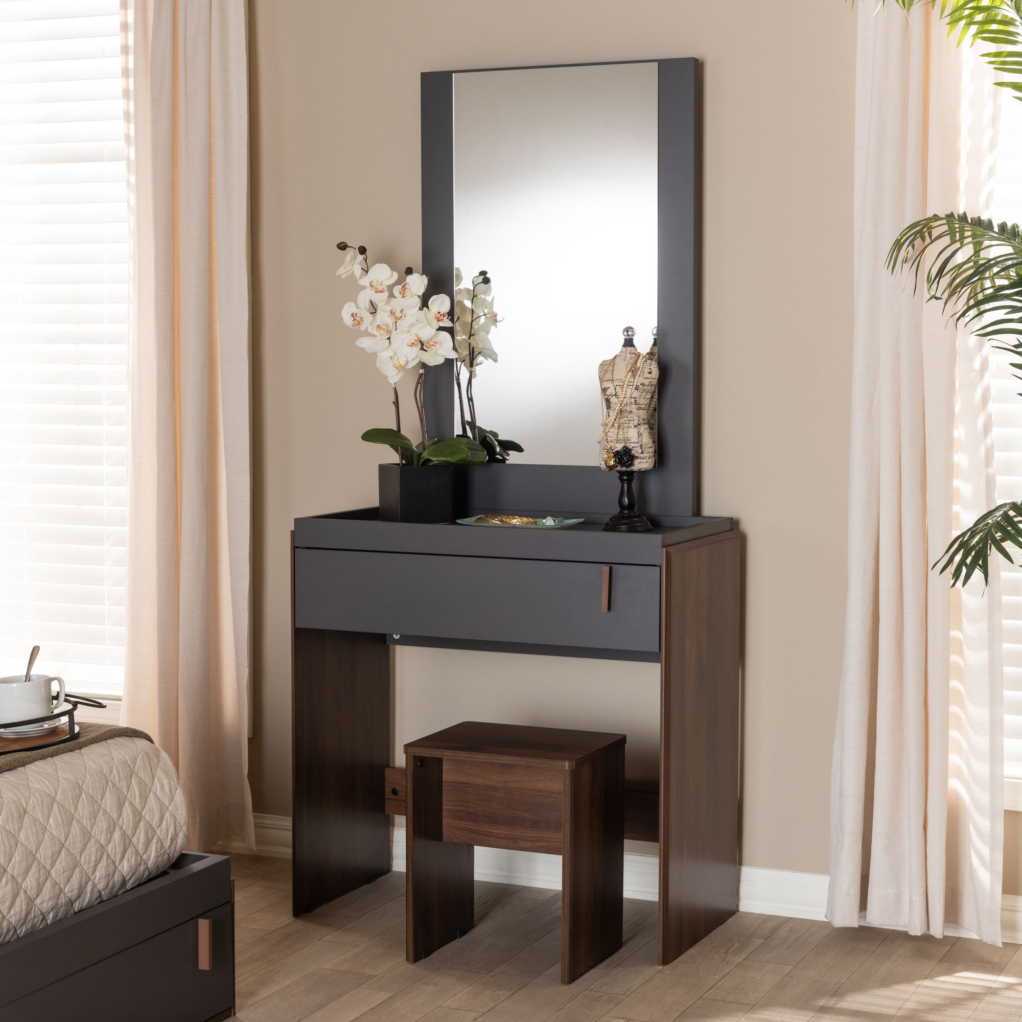 Baxton Studio Rikke Modern and Contemporary Two-Tone Gray ...